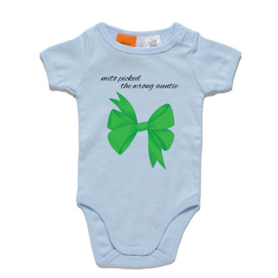 Green Bow Blue Onesie