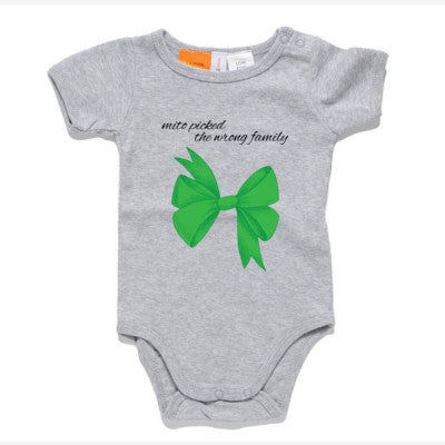 Green Bow Grey Onesie