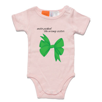 Green Bow Pink Onesie