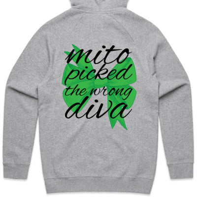 Green Bow - Mito Picked the Wrong Diva - Zip Hoodie