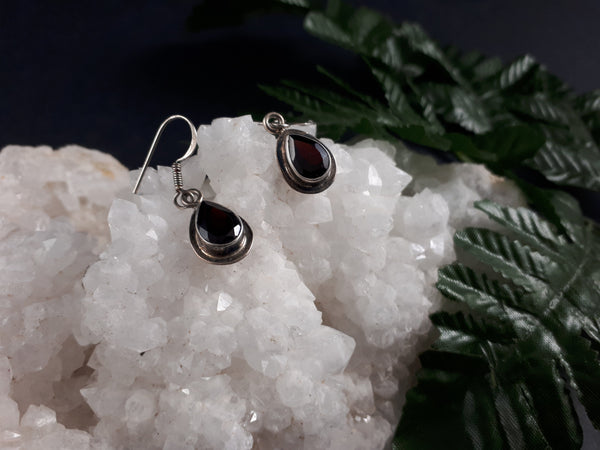 Garnet Sterling Silver Earrings (750)