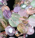 Prehnite, Citrine, Rose Quartz, & Amethyst Bead Strand (Faceted)