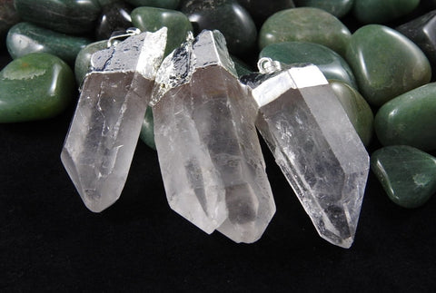 Clear Quartz Point Pendant Silver Foil