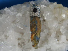Natural Blue Kyanite and Garnet Sterling Silver  (4672)