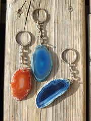 Colored Agate Slice Keychain