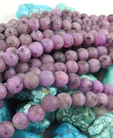 Purple Enhanced Kiwi Stone (8mm Rounds) Matte Bead Strand