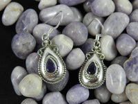 Teardrop Amethyst Sterling Silver Earrings (66)