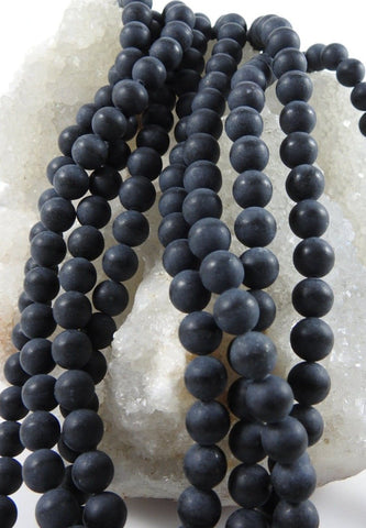 Matte Black Onyx (8mm Rounds) Bead Strand