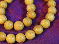 Yellow Marble Bead Strand (12mm Rounds) (dyed)