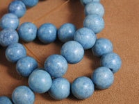 Baby Blue Marble Bead Strand (12mm Rounds) (dyed)