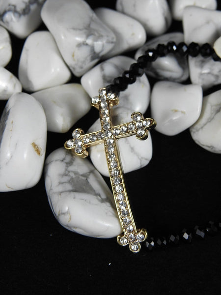 Cross Bracelet (Black or Silver)