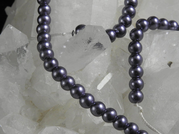 Purple Glass Pearl Bead Strand (6mm Rounds)