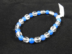 Blue and white bracelet blue Chalcedony and Quartz