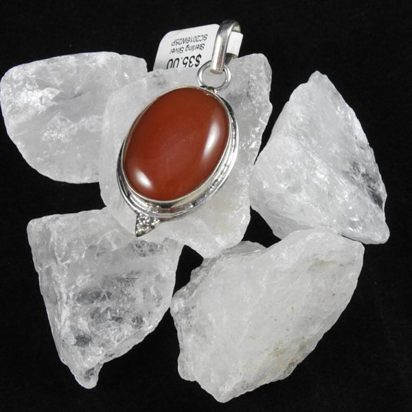 Carnelian pendant close up