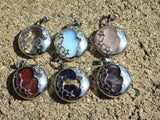 Moon and Stars Pendant (Various Gemstones)