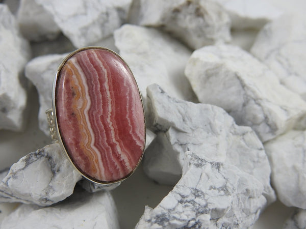 Rhodocrosite Sterling Silver Ring (Size 7.5)