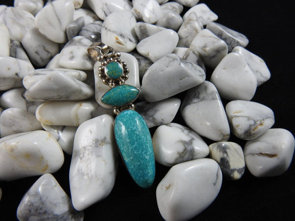 Natural Turquoise in Sterling Silver Pendant (4119)