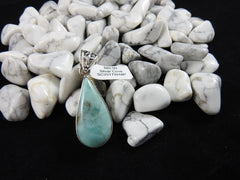 Larimar pendant in Sterling Silver on Howlite