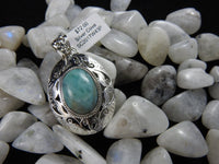 Larimar pendant in Sterling Silver on Moonstone