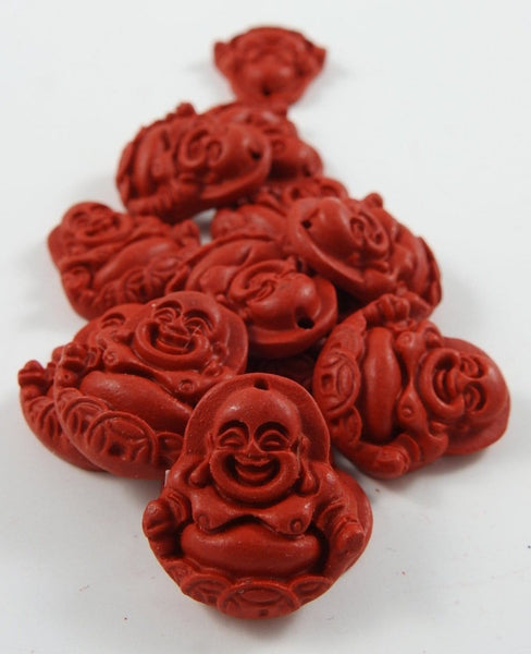 Imitation Cinnabar Laughing Buddha (Sm.) Guru/Focal Bead