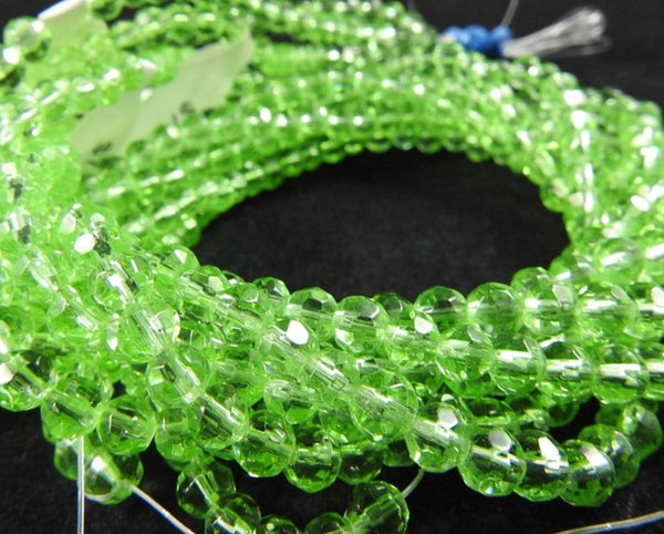 Green Faceted Crystal Bead Strand