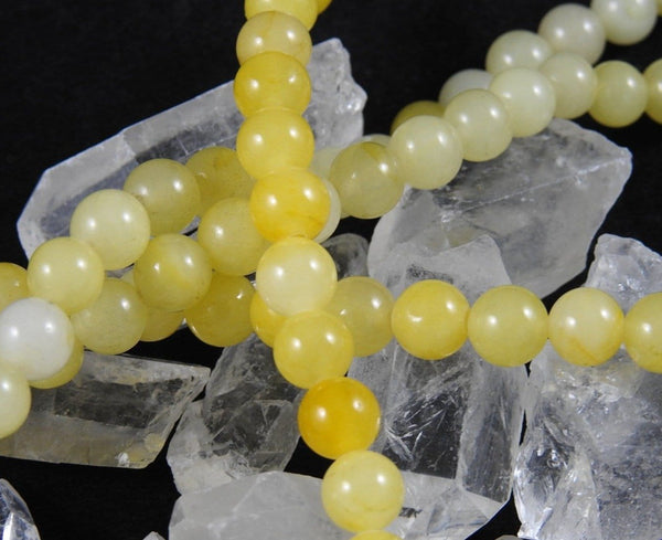 Yellow Dyed Quartz (8mm Rounds) Bead Strand