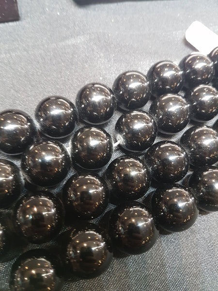 Obsidian 12mm Round Bead Strand