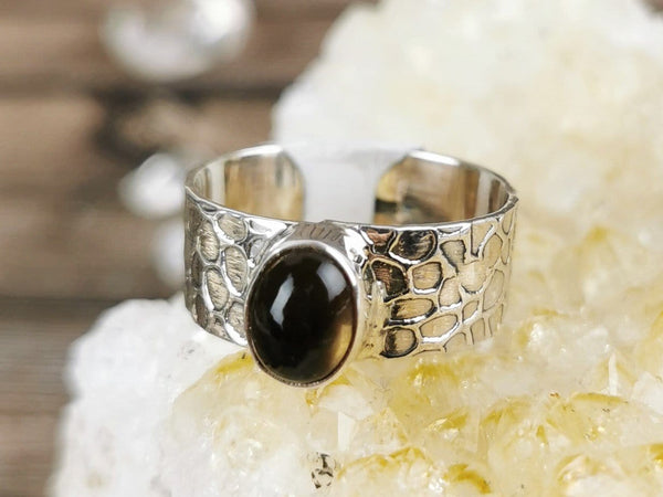 Wide Band Smoky Quartz Ring