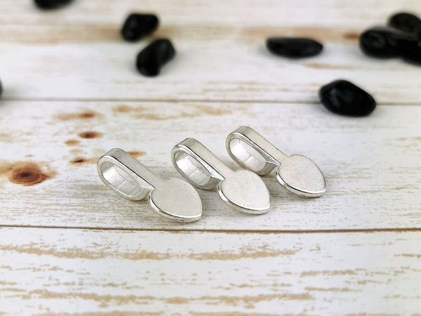 Silver Plated Heart Bails, 6 Pack