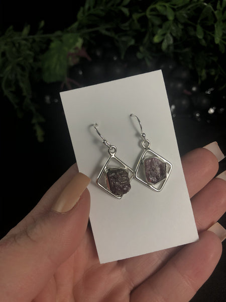 Pink Tourmaline in Sterling Silver Earrings (3.2 g)