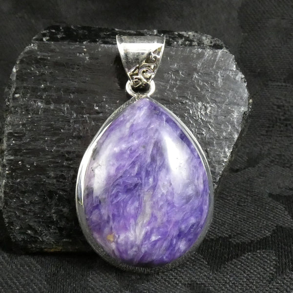 Charoite in Sterling Silver Pendant