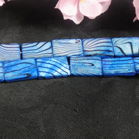 Shell Blue Rectangle Bead Strand