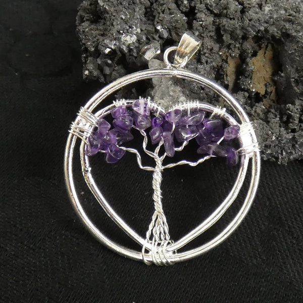 Amethyst Tree of Life Heart Pendant