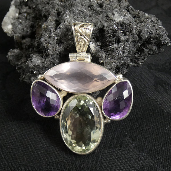 Faceted Rose Quartz, Green & Purple Amethyst Pendant