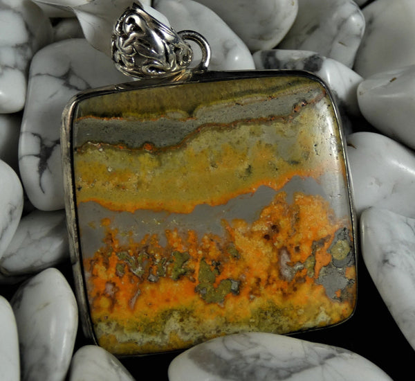 Bumblebee Jasper Sterling Silver Pendant (square)