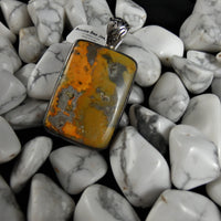 Bumblebee Jasper Sterling Silver Pendant (rectangle)
