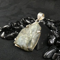 Rough Labradorite in Silver Pendant (380)