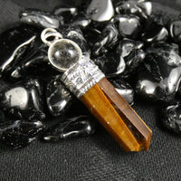 Tiger's Eye Point & Quartz Sphere Pendant (395)
