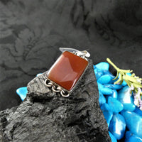 Carnelian in Sterling Silver Pendant (square)