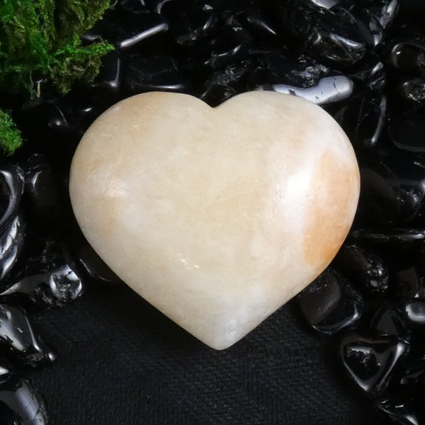 Yellow Calcite Carved Heart (740)