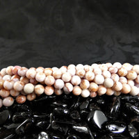 Pink Marble Bead Strands(6mm round)