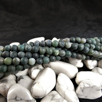 Moss Agate Bead Strands(matte 6mm round)