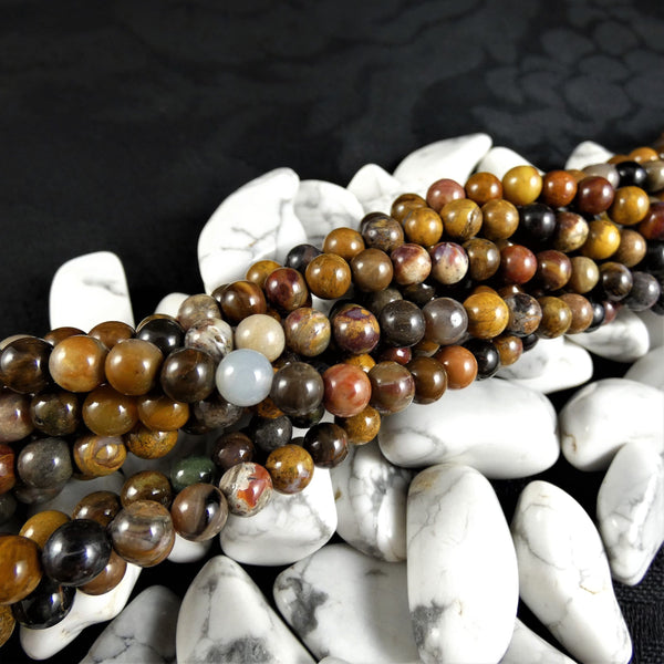 Yellow Moss Agate Bead Strands(6mm round)