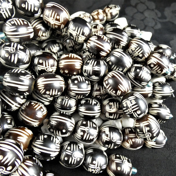 Carved Wooden Bead Strands