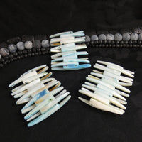 Washed Blue Mother of Pearl Stretch Bracelets (Dyed) (Various)