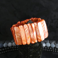 Peach Mother of Pearl Stretch Bracelets (Dyed) (Various)