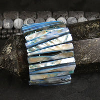 Blue Mother of Pearl Stretch Bracelets (Dyed) (Various)