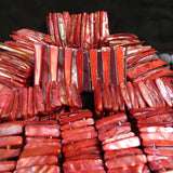 Red Mother of Pearl Stretch Bracelets (dyed) (Various)