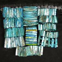 Pearlescent Cyan Mother of Pearl Stretch Bracelets (dyed) (Various)