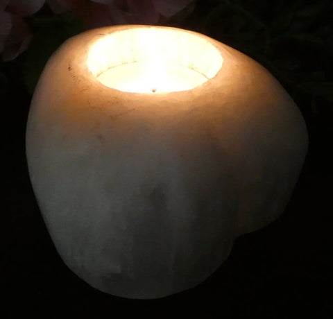 White Heart Selenite Candle Holder